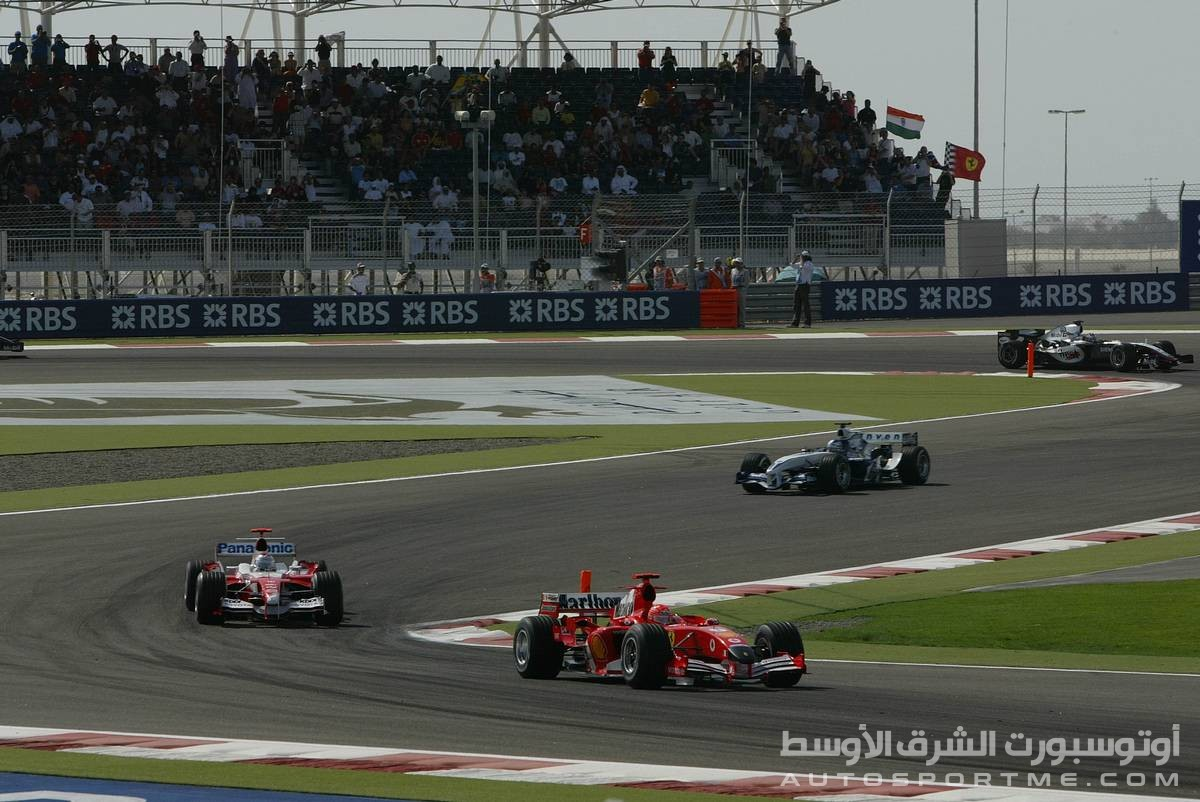 03.04.2005 Manama, Bahrain, Ralf Schumacher, GER, Panasonic Toyota Racing, TF105 leads Jarno Trulli, ITA, Toyota, Panasonic Toyota Racing, TF105 - Sunday, April, Formula 1 World Championship, Rd 3, Bahrain Grand Prix, BHR, Race - www.xpb.cc, EMail: info@xpb.cc - copy of publication required for printed pictures. Every used picture is fee-liable. © Copyright: Photo4 / xpb.cc - LEGAL NOTICE: THIS PICTURE IS NOT FOR ITALY AND GREECE PRINT USE, KEINE PRINT BILDNUTZUNG IN ITALIEN UND GRIECHENLAND!